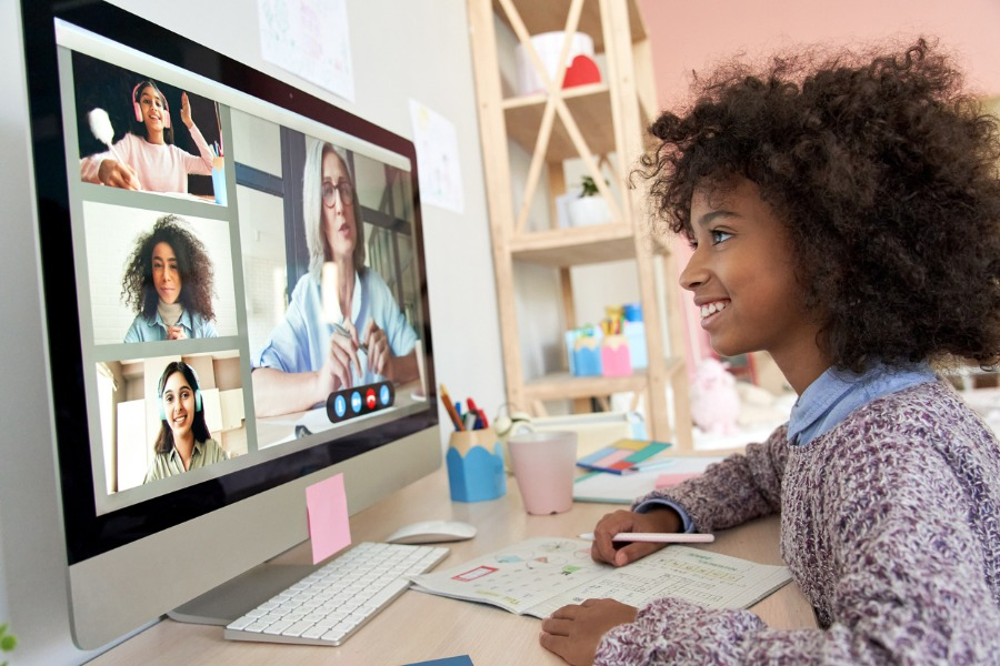 cute-african-kid-child-girl-distance-learning-during-virtual-distance-picture-id1284585970